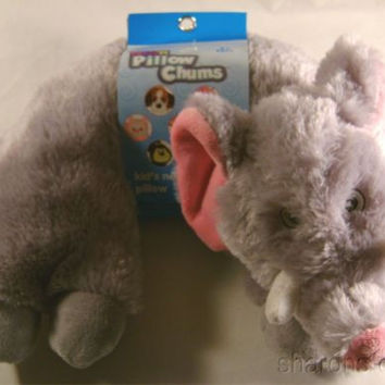 Elephant Neck Support Pillow Kellytoy Chums Kids Travel Airplane Auto Plush Baby