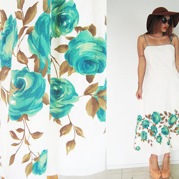 Vintage 50's 60's cream beige green rose floral flower boho swing mad men full skirt hippie bohemian maxi summer