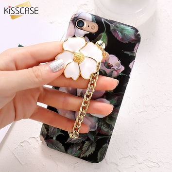 KISSCASE Luxury 3D Flower Cover For iPhone 7 iPhone 7 Plus Case Retro Floral Bracelet Phone Bag Accessories For iPhone 7 Shell