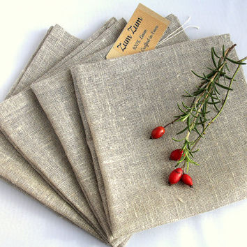 "Natural Grey Linen Napkin Serviette Placemat Set of 4 -17"" x 17 "",45 cm x 45 cm  flax LINEN rustic vintage look French Country cottage style"