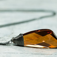 Crystal Wing Autumn Necklace, Swarovski Jewelry, Oxidized Silver Wire Wrapped Autumn Honey Brown Necklace, September Autumn Fashion Jewelry