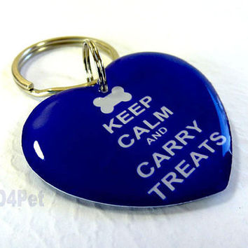 Dog Tags Keep Calm Carry Bone Heart Shape by ID4Pet