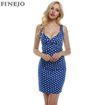 Finejo Vintage Style Women lady Elegant Deep V-Neck Sleeveless red Polka Dot Slim Fit Bodycon party mini Dress plus size S-XXL