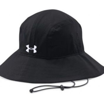 Under Armour Men's Bucket Hat Black Sun Cap Armour Vent NWT