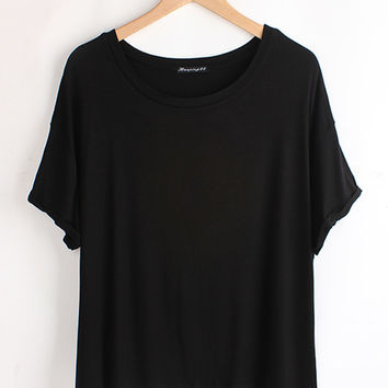 Short Sleeve Turned Edge Loose Fit Shirt