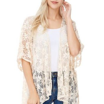Lace Open Front Shawl