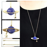 Timlee N006 Free shipping,Sweet Saturn planet Star design Pendant Long Necklace