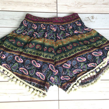 High waisted Pom pom Shorts Paisley Print Boho Summer Chic Fashion Tribal Aztec Ethnic Clothing Bohemian Ikat Cloth pompom Cute Women Green