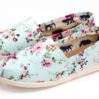 Sweet Style Floral Canvas Shoes Flat Shoes