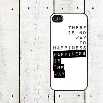 The Way to Happiness iPhone Case  Buddha Quote Cell Phone by Arete