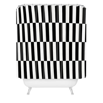 Bianca Green Black And White Order Shower Curtain