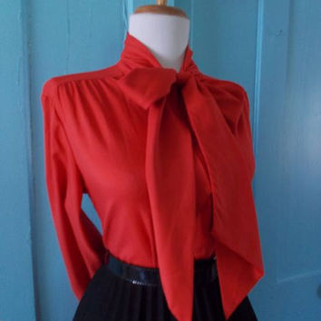 Flirty 1950s 1960s Red Striped Button Down Long Sleeve Blouse w Ascot Tie Neck