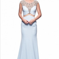 Kari Chang KC33 Jeweled Ice Blue Faux Two Piece Prom Dress