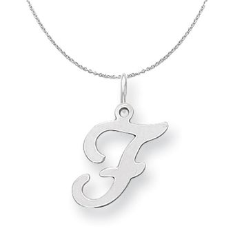 Sterling Silver, Sophia Collection, Small Script Initial F Necklace
