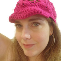 Crochet newsboy hat in Neon Magenta, ready to ship!  Free USA shipping!