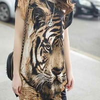 Coffee Tiger Printed Mini Dress