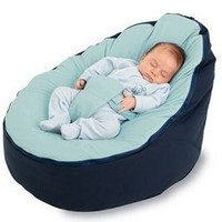 BayB Brand Bean Bag for Babies - Filled, Ready to Use - Ships in 24 Hours! (Blue/Blue)