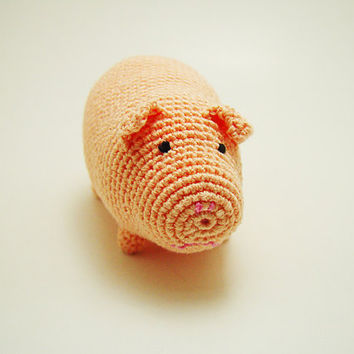 Piggy crochet doll, Crochet stuffed toy, Toddler pink pig, Crochet pink piggy, Handmade baby doll, Little girl friend, Piglet baby toy