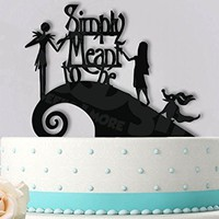 Jack and Sally Simply Meant To Be with Zero Wedding Cake Topper