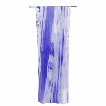 "Danii Pollehn ""Indigo Stripes"" Blue White Watercolor Decorative Sheer Curtain"