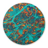 Colourful green and orange trees ceramic knob