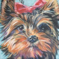 Yorkshire Terrier yorkie art CANVAS print of LA Shepard painting 8x8 dog portrait