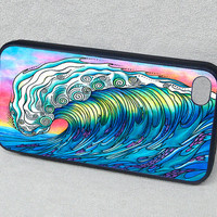 The Wave Surf Art with Dolphins and Fish Rubber by stephaniekiker