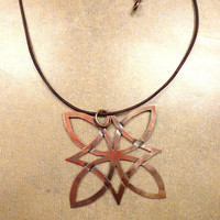 Celtic knot. Copper pendant. Big, hand cut, textured and colored necklace. Irish jewelry.