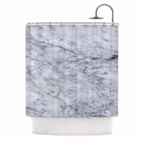 "Chelsea Victoria ""Marble"" Blue Black Shower Curtain"