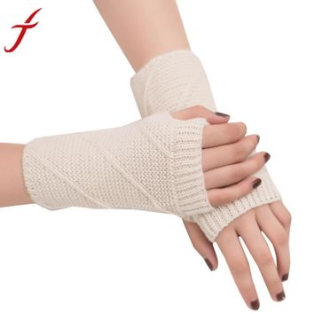 Feitong Winter Gloves Women Mitten Warmer Fingerless Knitted Arm Gloves Soft Outdoors Knitting 11 Colors#3