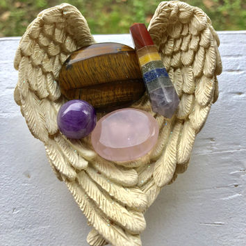 Sale**Sale**CRYSTAL HEALING SET #A Inc. Tigers Eye Worry Stone, Chakra Point, Rose Quartz, Amethyst Sphere  w/Free Bag & Msg