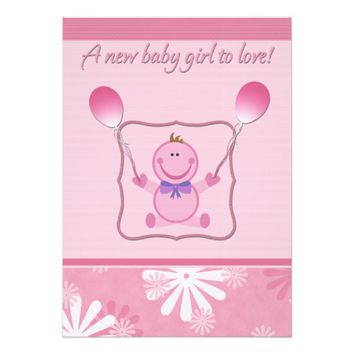 Pink Baby Doll Girl Shower Invitations