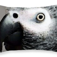 "African Gray Parrot Art - Softy Throw Pillow 20"" x 14"""