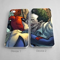 Harley Quinn and Joker Kissing Couples Phone Case iPhone 4/4S, 5/5S, 5C Series,iPhone 6, 6plus - Hard Plastic, Rubber Case