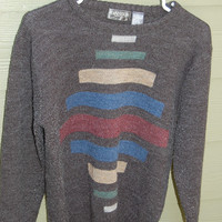 Vintage 80s Mens Graphic Mod Geometric Block Design Cosby Sweater by Banner Size Medium