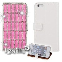 BLING Swarovski & Czech Crystal Jersey Bling® Faux Leather iPhone 5, 5s Handmade Case Wallet w/Cards & ID Slot & Magnetic Closure (Light Pink)