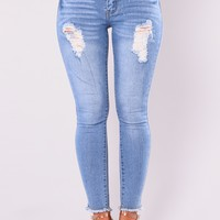 Decadence Ankle Jeans - Light Blue Wash