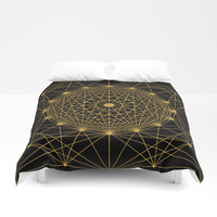 Geometric Circle Black and Gold Duvet Cover by Fimbis