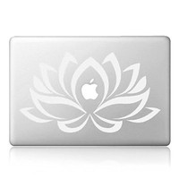 "iCasso Lotus Removable Vinyl Decal Sticker Skin for Apple Macbook Pro Air Mac 13"" inch / Unibody 13 Inch Laptop (White)"