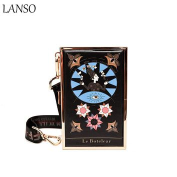 LANSO Vintage Tarot Constellation Handbags Personalized Graffiti Leisure Mini Day Clutches Women Evening Bag Drop Shipping