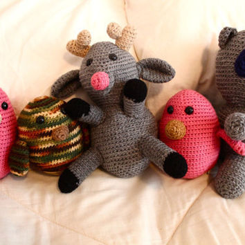 Amigurumi Deer Racoon and Bird Stuffed Animals by p4pministry