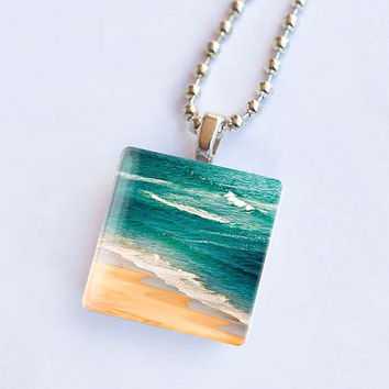 Nautical jewelry glass tile pendant necklace ocean waves breaking photo nature jewellery teal emerland sand beach with silver chain necklace