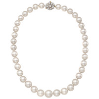 Cultured Pearl Necklace with Antique Diamond Clasp