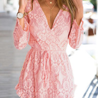 Pink Lace Drawstring Mini Dress