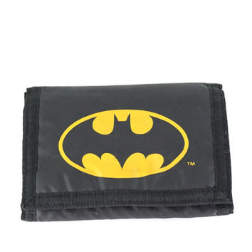 Vintage Batman Wallet, Black Nylon Billfold, Velcro Closure