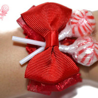 Red Lollipop Wrist Corsage, Bridesmaid, Mother of the groom, flower girl, mother of the bride, red wedding, Prom Corsage, Wedding Corsage