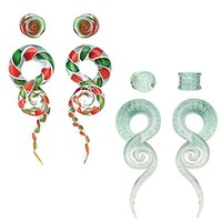 BodyJ4You 8PCS 00G Glass Tapers Glow in Dark and Candy Swirl Tapers and Plugs Set Ear Gauge Hangers