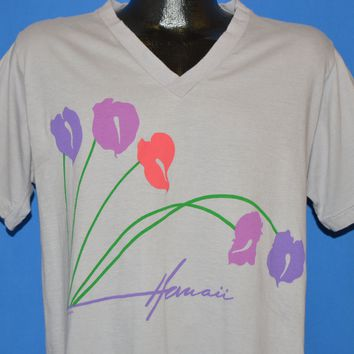 90s Hawaii Hibiscus Flowers V-Neck t-shirt Large