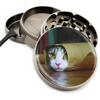 "Cat In a Tube - 2.5"" Premium Zinc Herb Grinder - Custom Designed"