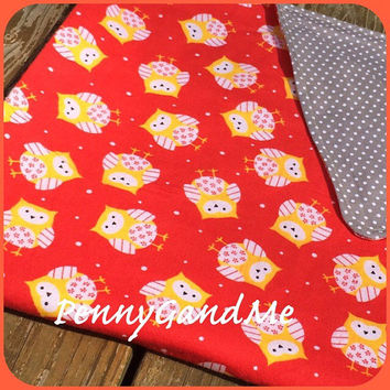 Personalized Owl Baby Blanket ~ Red and Grey Crib Blanket ~ Lightweight Baby Blanket